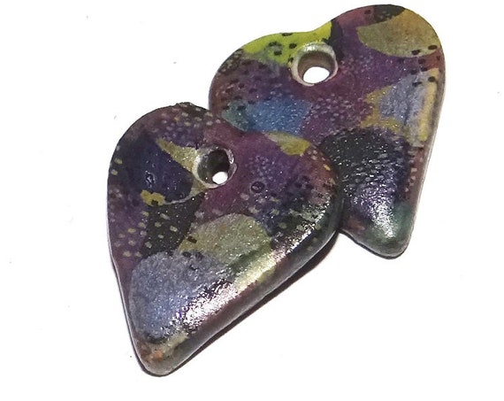 Ceramic Floral Heart Charms Beads Pair Porcelain