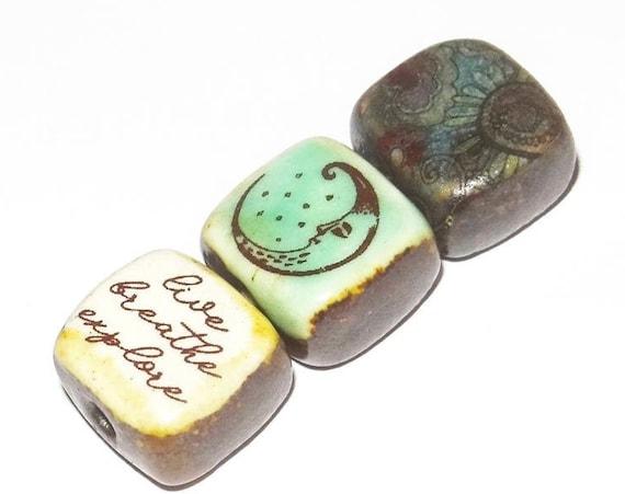 Ceramic Quote Bead Set Cube Beads Handmade Moon Night Sky
