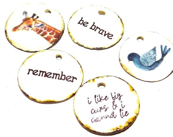 Ceramic Quote Charm Set Handmade Pottery Words Inspirational Word Beads Giraffe Birds
