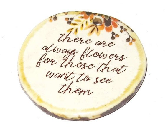 Ceramic Quote Pendant Word Handmade Focal Inspirational Motivational