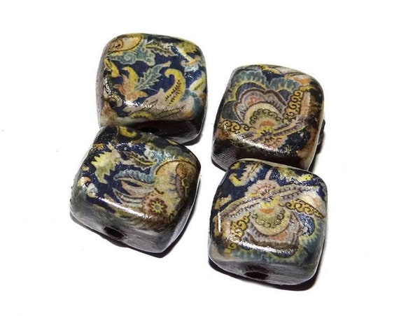 Ceramic Paisley Cube Beads Rustic Handmade Jewelry Component