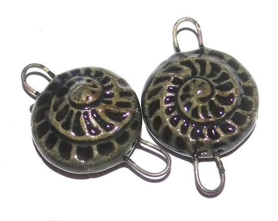 Ceramic Ammonite Fossil Connector Charms Beads Pair Porcelain