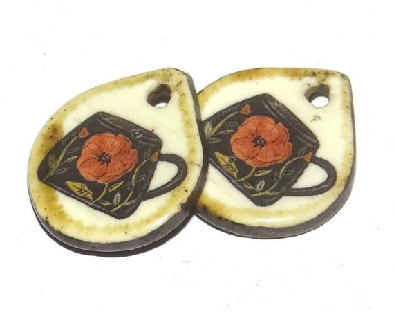 Ceramic Coffee Tea Cup Earring Charms Pair Handmade Porcelain