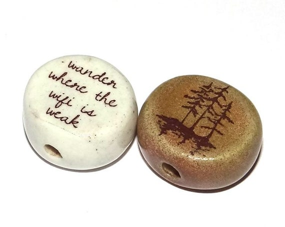 Ceramic Quote Bead Set Message Aspiration Wander Forest