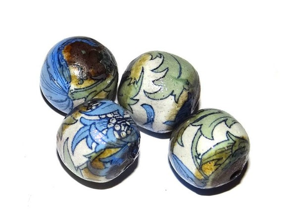 Ceramic Floral Bead Set Stoneware Handmade Pottery Beads Rustic Earthy Flower