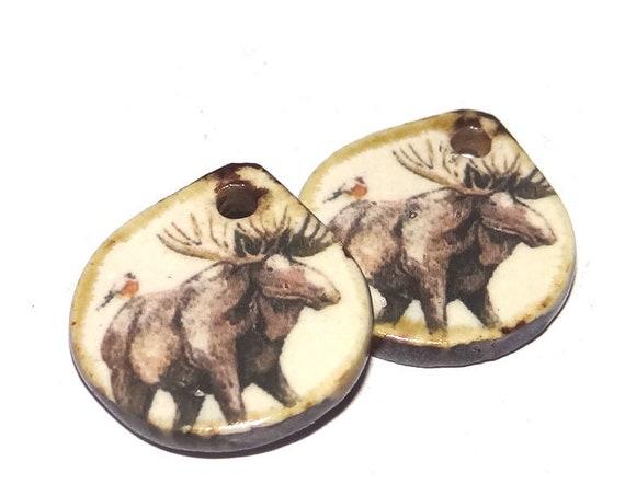 Ceramic Moose Earring Charms Pair Beads Handmade Rustic Wildlife