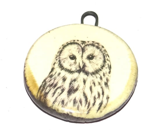 Ceramic Owl Pendant Handmade Focal Wildlife Porcelain
