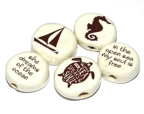 Ceramic Quote Bead Set Message Aspiration Beach Marine
