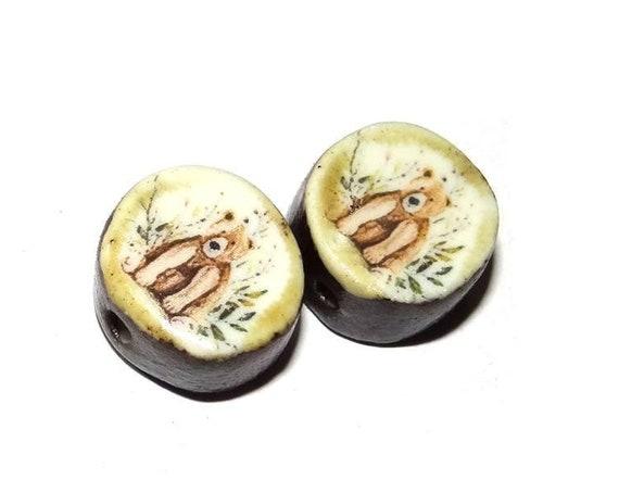 Ceramic Bear Bead Pair Handmade Rustic Nature Beads