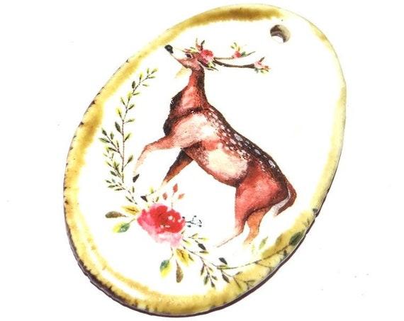Ceramic Deer Stag Boho Handmade Focal Pendant Porcelain Wildlife Nature