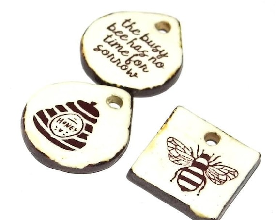 Ceramic Charms Set Bee Hive Quote Rustic Porcelain Pottery Inspirational Motivational