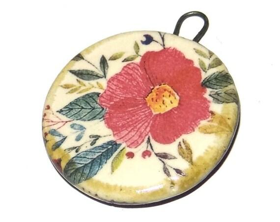 Ceramic Flower Pendant Word Handmade Focal