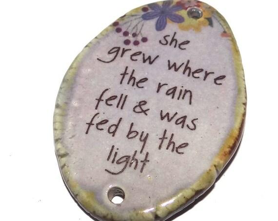 Ceramic Quote Pendant Word Handmade Focal Inspirational Motivational Flowers