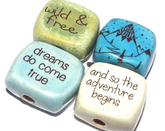 Ceramic Quote Bead Set Cube Beads Handmade Beads Mountains