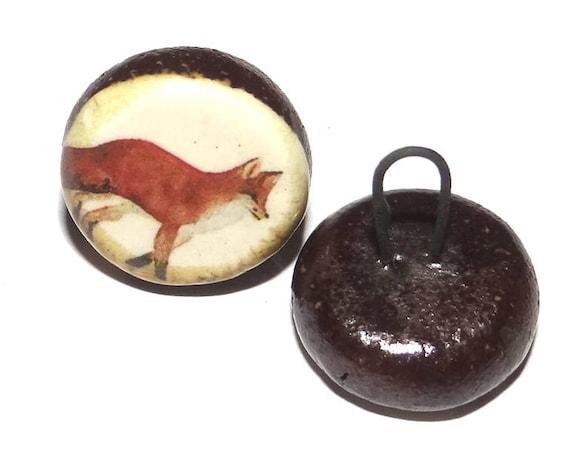 1 Ceramic Fox Shank Button Handmade Porcelain