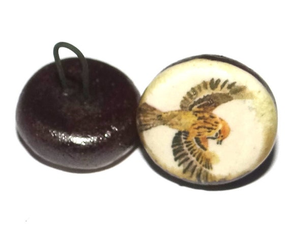 1 Ceramic Sparrow Bird Shank Button Handmade Porcelain