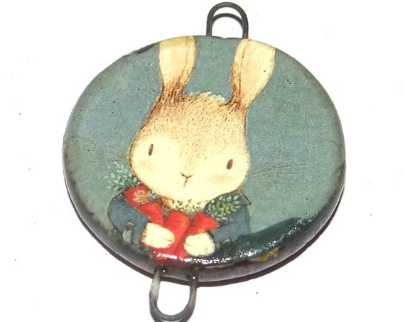 Ceramic Rabbit Pendant Handmade Focal Porcelain