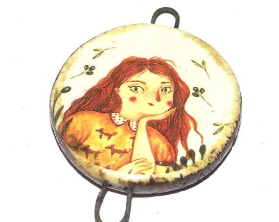 Ceramic Girl Pendant Handmade Focal Porcelain