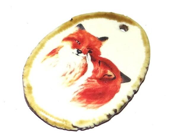 Ceramic Fox Wildlife Handmade Focal Pendant Porcelain