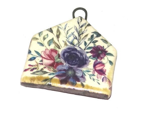 Ceramic Pendant Handmade Focal Porcelain Floral Purple Flowers