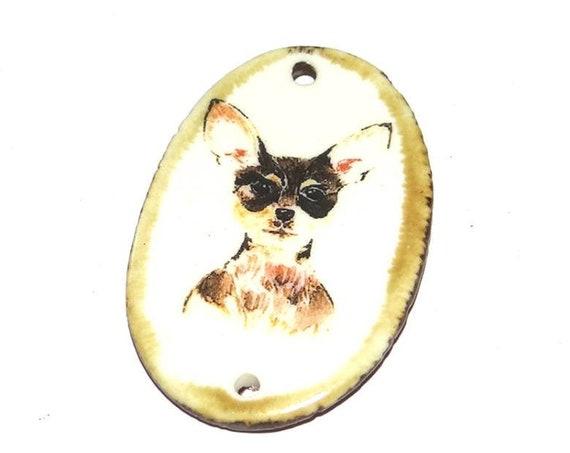 Ceramic Chihuahua Dog Pendant Handmade Porcelain Pets