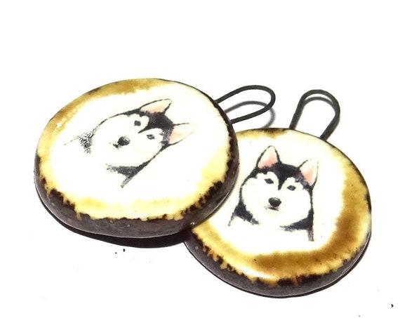 Ceramic Dog Earring Charms Pair Handmade Porcelain Husky