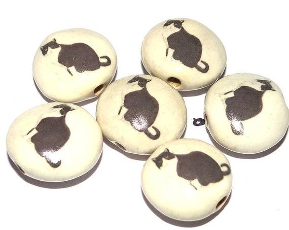1 Ceramic Cat Bead Porcelain Handmade Focal