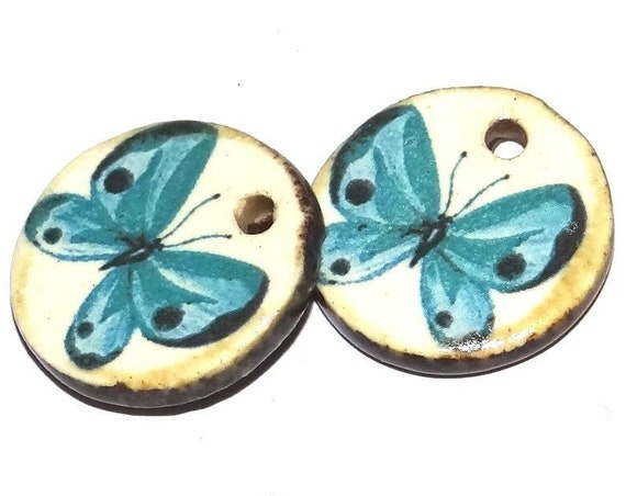 Ceramic Butterfly Charms Pair Porcelain Handmade Components