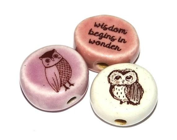 Ceramic Owl Bead Set Quotes Pink Orchid