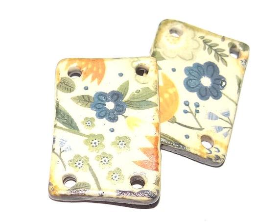 Ceramic Flower Earring Charms Pair Beads Handmade Rustic