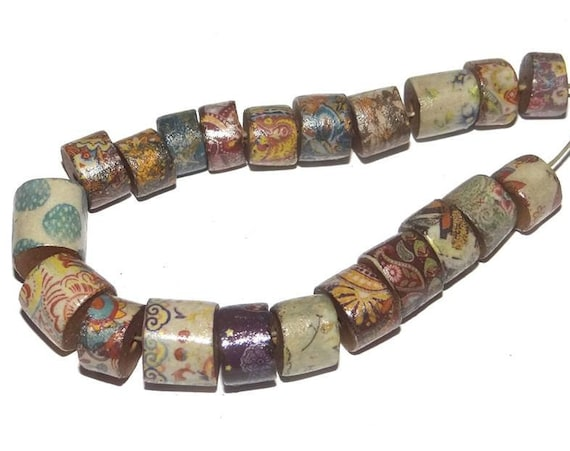 Ceramic Floral Disk Tube Bead Set Stoneware Handmade Pottery Beads Rustic Earthy