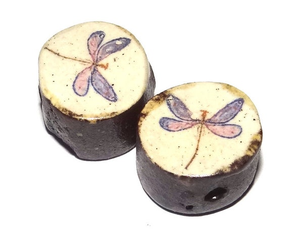 Ceramic Dragonfly Bead Set Pair Inspirational Nature