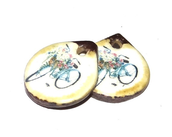 Ceramic Bicycle Earring Charms Pair Beads Handmade Rustic