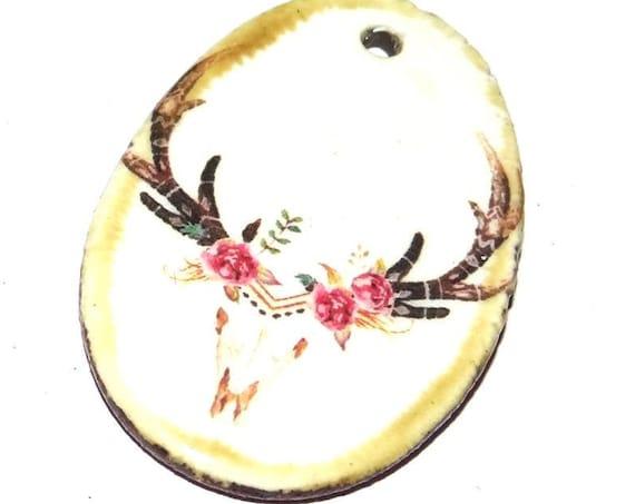 Ceramic Deer Stag Boho Skull Handmade Focal Pendant Porcelain