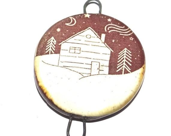 Ceramic Winter Cabin Woods Pendant Handmade Focal Rustic