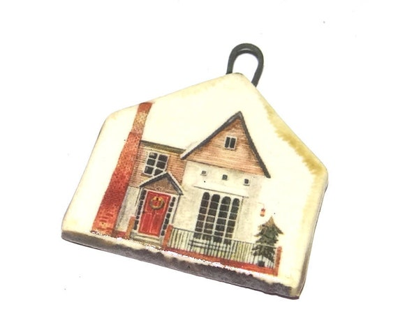 Ceramic Christmas House Home Pendant Handmade Focal Porcelain
