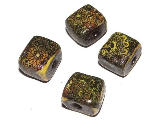 Ceramic Patterned Cube Beads SECONDS