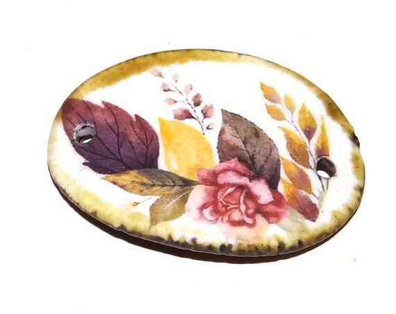 Ceramic Floral Bracelet Bar Handmade Cuff Porcelain Flower Rustic Autumnal