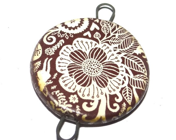 Ceramic Floral Flower Pendant Connector Porcelain Handmade