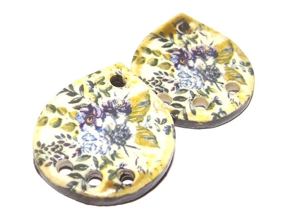 Ceramic Floral Flower Charms Pair Porcelain Handmade