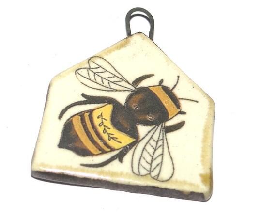 Ceramic Bee Pendant Handmade Focal Porcelain