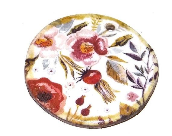 Ceramic Floral Pendant Word Handmade Focal Inspirational Motivational