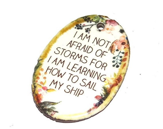 Ceramic Quote Pendant Word Handmade Focal Sailing Learning Improvement