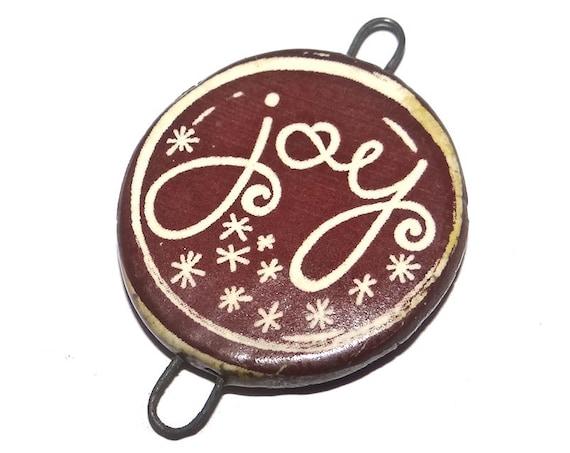 Ceramic Joy Christmas Noel Pendant Handmade Focal Rustic