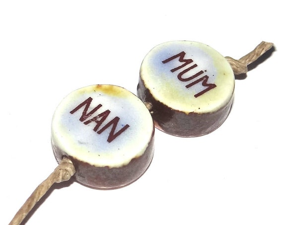 Ceramic Quote Bead Set Beads Handmade Mum Nan