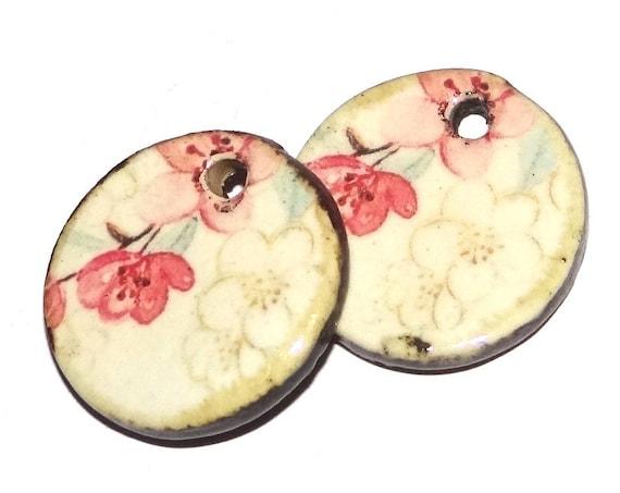 Ceramic Floral Charms Pair Porcelain Handmade
