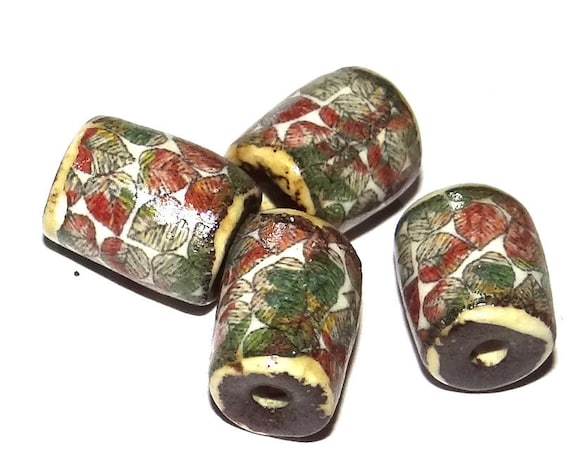 Ceramic Bead Set Stoneware Handmade Pottery Beads Floral