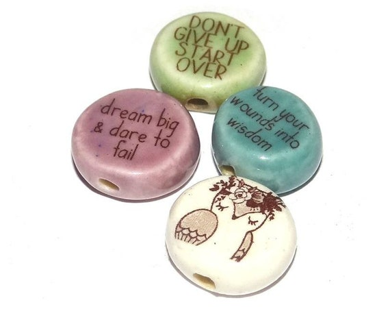 Ceramic Owl Bead Set Quotes Pink Orchid