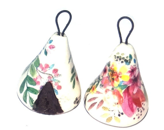 1 Ceramic Earring Charm Pendant Stoneware Pottery Tent Teepee Porcelain