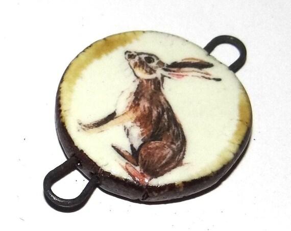 Ceramic Hare Connector Handmade Pendant Porcelain Nature